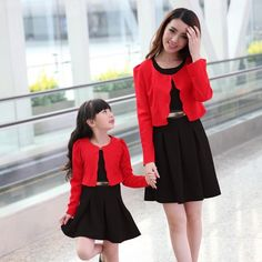 2015 Top Quality 2 Piece Set Dress+Coat Mom And Daughter Dresses Sport Suit Women Mother Daughter Matching Clothes Girl Dress Mommy And Me Dresses, Mommy And Me Outfits, Mom Dress, Kids Outfits, Girls Dresses, Mother Daughter Matching Outfits, Mother Daughter Fashion, Matching Family Outfits, Matching Clothes