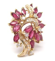 Estate Vintage 5.43CT Fine Ruby & Diamond Cluster Ballerina Ring 14K Yellow Gold #Handmade #Cocktail