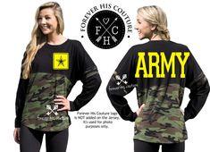 Army Girlfriend Pom Pom Jersey tee Army by ForeverHisCouture