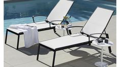 Largo White Mesh Chaise Lounge available from Crate & Barrel (https://crate.us/2rz0pQh.) Now all you need is the fiberglass swimming pool from Leisure Pools to enjoy it by(www.LeisurePoolsUSA.com).