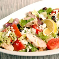 Mediterranean Chicken Salad, a recipe from ATCO Blue Flame Kitchen's Love to Grill 2000 cookbook.