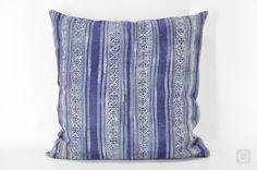 "22"" Indigo Pillow Case with Vintage Hmong Hemp Batik by OrientalBazar"