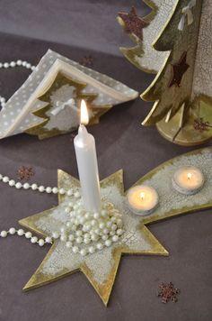 Pentart dekor: Fehér-arany karácsonyi dekoráció