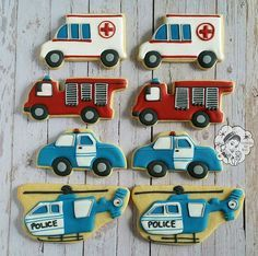 Had so much fun making these #emergency #vehicle #cookies for a little #boys #third #birthday! #cookiesbyqui #geelong #decoratedcookies #decoratedbiscuits #biscuits #cookies #customcookies #customdecoratedcookies #custombiscuits #customdecoratedbiscuits #cookiesmadebygiftedhands #edible #foodporn #royalicing #cookiesofinstagram #sugar #cookieart #fire #truck #ambulance #police #car #helicopter