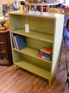 Now at Retro Kalamazoo - Luscious Lime Green Bookcase on Pin-Legs!