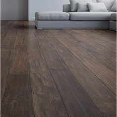IndusParquet Langania Engineered Hickory Hardwood Flooring in Brown Refinishing Hardwood Floors, Wood Tile Floors, Wide Plank Flooring, Dark Wood Floors, Engineered Hardwood Flooring, Stone Flooring, Wooden Flooring, Flooring Ideas, Hardwood Floor Colors