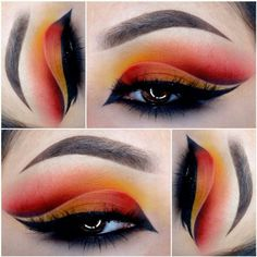 Glamour Makeup, Mua Makeup, Makeup Art, Beauty Makeup, Makeup Eyes, Orange Makeup, Creative Eye Makeup, Makeup Tattoos, Dramatic Makeup