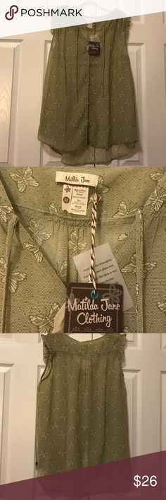 Matilda Jane wonderful parade monarch butterfly M Olive green button front blouse. Capped ruffle sleeves. Small butterflies printed all over. Size medium. New with tags matilda jane Tops Blouses