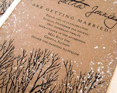 Invierno de invitación de boda árbol mano por everafterpapery