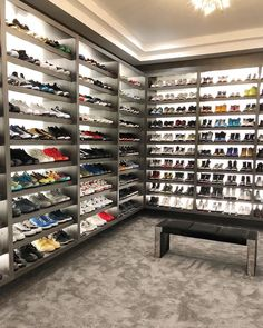 Shoe Room, Shoe Wall, Shoe Closet, Closet Storage, Dream Closets, Dream Rooms, Hypebeast Room, Beautiful Closets, Luxury Closet