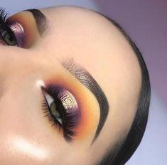 Purple plum halo eye with orange and yellow cut-fold glam look . - Purple plum halo eye with orange and yellow cut-fold glam look # - Halo Eye Makeup, Makeup Eye Looks, Eye Makeup Tips, Cute Makeup, Makeup Goals, Gorgeous Makeup, Makeup Inspo, Makeup Inspiration, Beauty Makeup