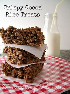 Gluten Free Crispy Cocoa Rice Treats are so easy to make and a yummy dessert! Made with Mom\'s Best Cereal, the kids (and adults)will love them. #glutenfree