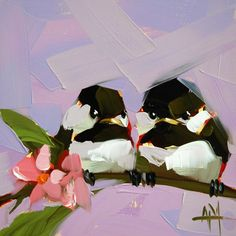 Two Young Chickadees original bird oil painting by Angela Moulton