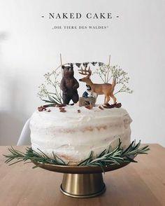 """Geburtstagstorte """"Die Tiere des Waldes"""" - Naked Cake mit Mascarpone"""