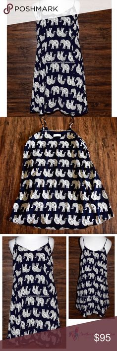 ELEPHANT DRESS Printed Trapeze Swing Festival Mini Available Sizes: Small, Medium.  New with tags.    - Stand out from the crowd in this pretty printed dress. - Swingy silhouette with two side hip pockets & thin straps (not adjustable). - Fully lined and incredibly comfortable. - Wear as a Tunic or mini dress.    Polyester. Made in the USA.      {Southern Girl Fashion - Closet Policy}   ✔Bundle discount: 20% off 2+ items.   ✔️ Items are priced to sell. Offers not accepted. Lowest price.   ❌…