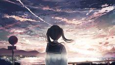 Anime Girl and Scenic Sky Scenic Wallpaper, Anime Scenery Wallpaper, Anime Artwork, Wallpaper Backgrounds, Laptop Backgrounds, Original Wallpaper, Computer Wallpaper, Anime School Girl, Sad Anime Girl