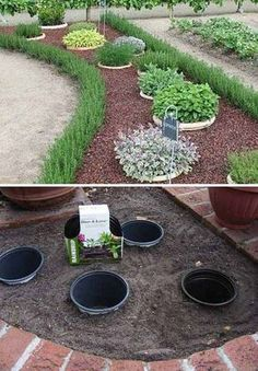 Place potted plants inside these buried pots for easy landscaping.