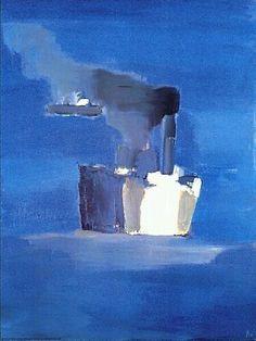 """""""Bateaux"""" (""""Ships"""") by Nicolas de Staël - Private collection. Abstract Landscape Painting, Landscape Paintings, Abstract Art, Michael Borremans, Art Informel, Tachisme, Art Moderne, Art Abstrait, Blue Art"""