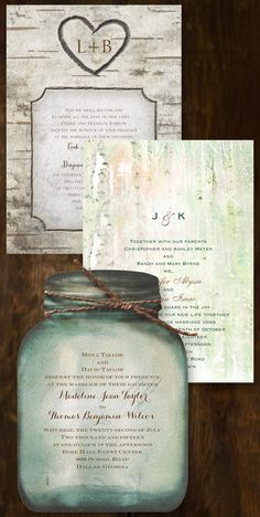 Your invitation sets the tone for your entire wedding day. If you're going rustic, find an invite that coordinates with your style. From mason jars and carved trees to burlap and ferns - discover all the possibilities!