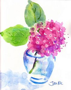 "pink hydrangea quick sketch no drawing of ""endless summer"" hydrangea Watercolor Paintings For Beginners, Watercolor Projects, Watercolor Cards, Floral Watercolor, Watercolor Artists, Watercolor Trees, Watercolor Portraits, Watercolor Landscape, Watercolour Painting"