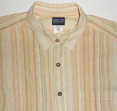 PATAGONIA Men's Multicolor Striped S/S Textured Shirt M MEDIUM Organic Cotton #Patagonia #ButtonFront