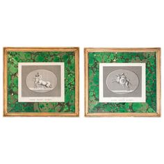 "Pair of 19th century Neoclassical engravings by J. B. Wicar with faux malachite marbleized matt boards. Engraver: Bertaux. France. CIRCA DATA: 19th century DIMENSIONS: 10.5 (27 cm)"" h x 11.5"" w PRICE: $675"