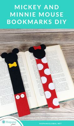 Learn how to make Mickey and Minnie Mouse bookmarks in 3 easy steps. Perfect for all the Disney lovers in your life! Learn how to make Mickey and Minnie Mouse bookmarks in 3 easy steps. Perfect for all the Disney lovers in your life! Disney Bookmarks, Creative Bookmarks, Cute Bookmarks, Bookmark Craft, Bookmarks For Kids, Bookmark Making, Felt Bookmark, Handmade Bookmarks, How To Make Bookmarks