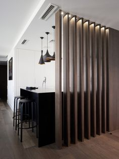 Bulkhead Partition Design Inspiration is a part of our furniture design inspiration series. Bulkhead Partition Design Inspiration is an inspirational series House Design, Interior Design, Living Room Divider, House Interior, Minimal Kitchen, Home, House, Interior, Living Room Partition