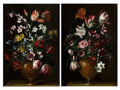 Gemäldepaar ZWEI STILLLEBEN MIT BLUMENBOUQUETS IN METALLENEN VASEN Öl auf Leinwand. Je 52,5 x 36 cm. Beigegeben eine Expertise von Dr. Franco Paliaga. Auf...