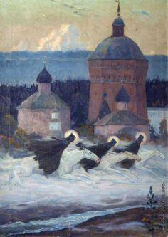 Mikhail Nesterov (1862 - 1942), Three Runners, from History of the Holy Trinity Saint Sergius Lavra's siege, 1932.