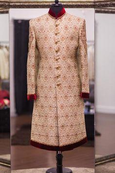 Beige Linen Silk Sherwani with Red Accents - WellGroomed Designs Inc Wedding Dresses Men Indian, Wedding Dress Men, Indian Dresses, Indian Outfits, Wedding Outfits, Wedding Men, Fall Wedding, Sherwani Groom, Mens Sherwani