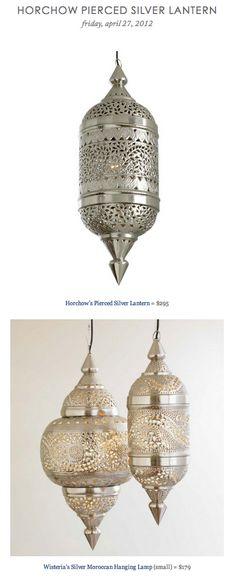 HORCHOW PIERCED SILVER LANTERN vs WISTERIA'S SILVER MOROCCAN HANGING LAMP
