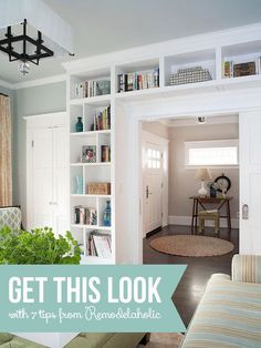 Get This Look: Living Room Built-In Shelves | 7 tips for a stylish home library from Remodelaholic