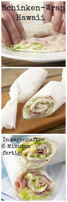 Gefüllt und gewickelt: Schinken-Wrap  | http://eatsmarter.de/rezepte/schinken-wrap-hawaii