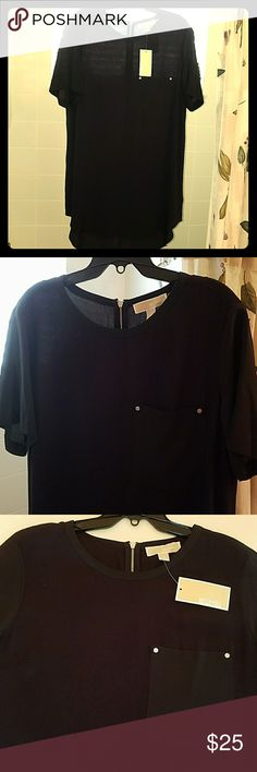 """NWT $99 Michael Kors High Low Tunic Top Blouse Black clothes are so hard to photograph -  Will add detailed more pics/specifics upon request. Deep, solid black, lightweight chiffon fabric.  Pocket detail  with silver logo """"screws"""" studded detail at corners.  Silver exposed zipper at back. Michael Kors Tops"""