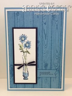 Using Stampin Up Hardwood background stamp,  a retired Stampin Up stamp set called Simple Florals.