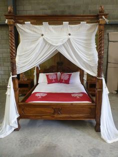 Natural stain hand carved 4 poster King size bed with matching bedside draws & a six drawer dresser. The canopy is a custom hand made MIMPI muslin mosquito netting. Home decor on a budget Eco Furniture, King Furniture, Four Poster Bed Frame, Dark Wood Bed, Huge Bed, Royal Bed, Balinese Decor, Dreams Beds, New Beds