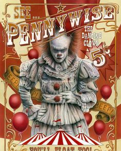 """Horror Movie Poster Art : """"It"""" 2017 """"Pennywise The Dancing Clown"""" by Michael Calandra aka mcalandra @ deviantart All Horror Movies, Horror Movie Characters, Scary Movies, Great Movies, Horror Villains, Cult Movies, Horror Icons, Horror Art, Pennywise The Dancing Clown"""