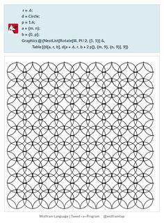 r=.6;d=Circle;p=1.6;a={m,n};b={0,p};Graphics@{NestList[Rotate[#,Pi/2,{5,5}]&,Table[{d[a,r,b],d[a+.6,r,b+2p]},{m,9},{n,9}],9]}