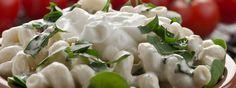 Caesar-Pasta-Salat mit griechischem Joghurt Pasta Salat, Coconut Flakes, Feta, Spices, Dairy, Cheese, Good Things, Greek Yogurt, Salads