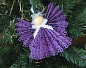 Purple Paper Angel Christmas Tree Ornament Lace Ribbon Angel Christmas Ornament