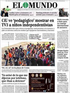 Los Titulares y Portadas de Noticias Destacadas Españolas del 18 de Septiembre de 2013 del Diario El Mundo ¿Que le pareció esta Portada de este Diario Español?