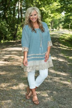 Think Of You Tunic/Dress is denim heaven! This lined, denim blue piece has vintage crocheted lace trim along the 3/4 sleeves and ruffle hemline.
