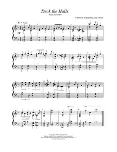 Deck The Halls (by Sally Deford -- Piano Solo) Sally Deford Music, Lds Music, Sheet Music Notes, Music Pictures, Deck The Halls, Choir, Piano, Songs, Tips
