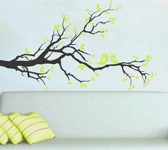 From Etsy for $69.00 - can customize with any color you like. White branches w/ yellow birds for Ye's room?