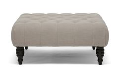Baxton Studio Keswick Beige Linen Modern Tufted Ottoman - $165 | Affordable Modern Furniture in Chicago