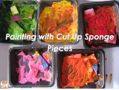 Painting with Cut Up Sponge Pieces 1