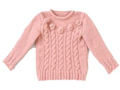 Knit sweater with cable-knit and flowers Pull Torsadé, Knit Baby Sweaters, Magazines For Kids, Baby Knitting, Cable Knit, Lana, Knit Crochet, Pullover, Clothes