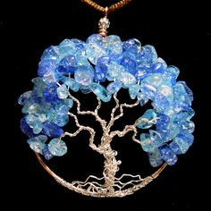 Blue Crackle Stone Chips Tree of Life Necklace Handmade World Tree DesertCreations Jewelry on ArtFire Chips of Handmade World Tree Tree Of Life Jewelry, Tree Of Life Necklace, Tree Of Life Pendant, Diy Necklace, Stone Necklace, Handmade Wire Jewelry, Wire Wrapped Jewelry, Handmade Necklaces, How To Make Necklaces