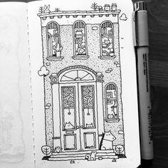 Illustration Humor Townhouse Pets